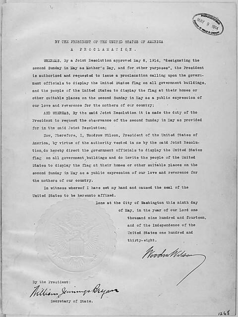 Decreto de Woodrow Wilson que instituiu o Dia das Mães nos EUA