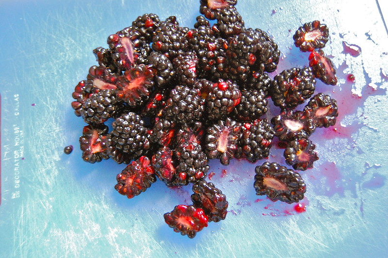 Halved Blackberries