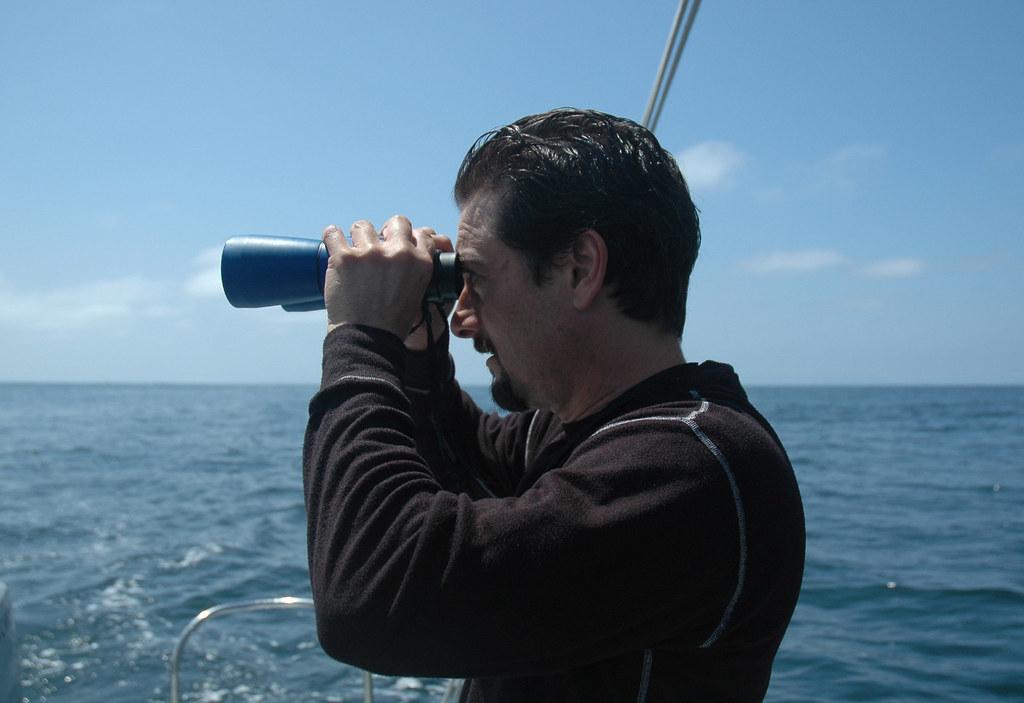 volunteer Billy on binoculars
