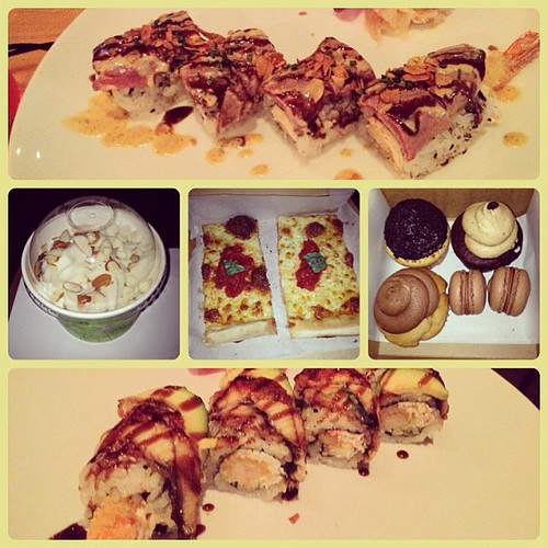 Yes, we really did just hit up 4 eateries in the last hour. #raleigh #sushi #froyo #pizza #cupcakes #macarons