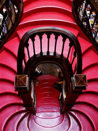 Porto, Stairs at Lello e Irmao Bookshop, Portugal