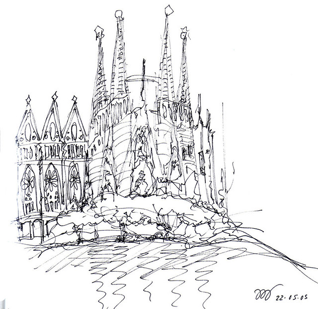 sagrada-familia-Spain. vernelle noel, thinking insomniac, architectural sketches, architectural sketching, architect sketches, architectural sketches of buildings, architectural sketching techniques,  architecture sketchbook, architectural perspective, architecture sketches of houses, sketching buildings, easy sketches, sketching techniques, quick sketch, sketches for sale, cartoon business card,  unique business cards, modern business cards, personal business cards,  business cards pictures, thinking insomniac blog, free hand drawing,hand drawing, free hand drawings, cartoon hand drawing,  drawing hand screensaver, famous hand drawings, pen and ink drawings, hand made drawings,