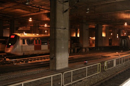 Train depot under apartment towers