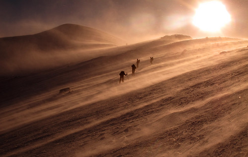 Battling through the spindrift en route to Cairngorm