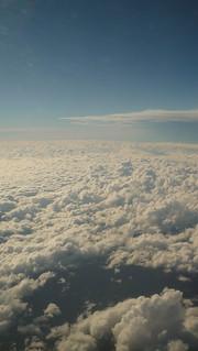 Clouds, seen from an aeroplane window