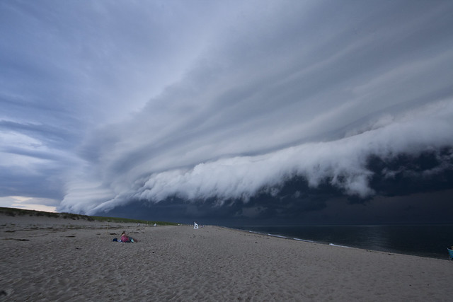Shelf cloud moves over Race Point Beach in Cape Cod, Massachusetts