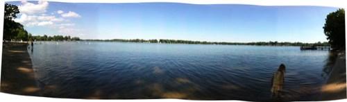 Panorama of Long Lake at Ramona Park, Portage