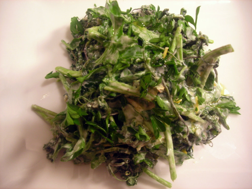 Watercress and chickweed salad, with Greek yogurt and chive dressing