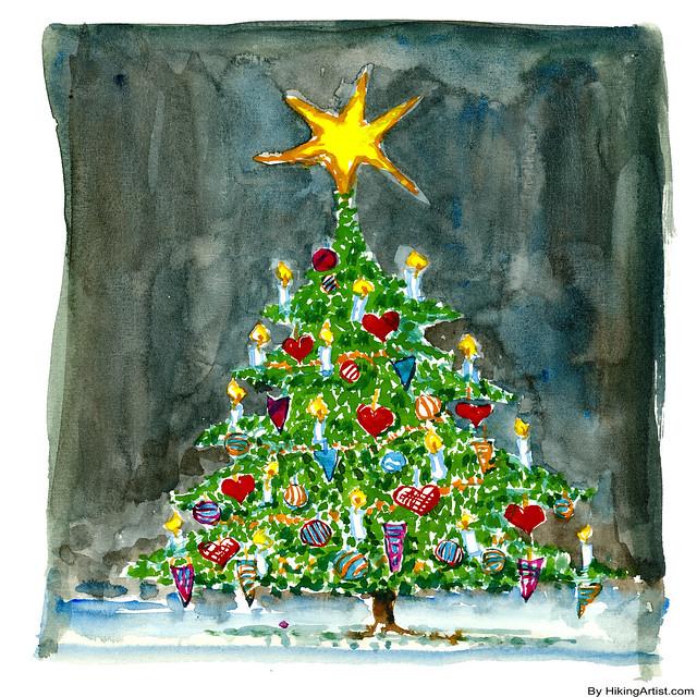 Watercolor Christmas Tree Flickr Photo Sharing