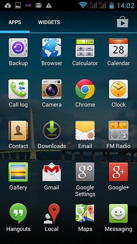 หน้าจอ App tray ของ Huawei Ascend Y600