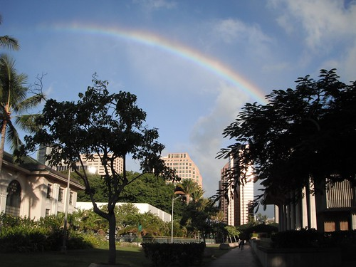 Rainbow over the Hawai'i State Capitol buildings.
