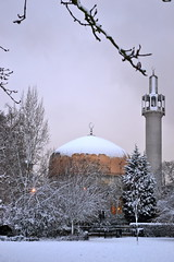 London Central Mosque on a Snowy Afternoon