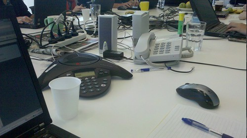 Crisis table in action - note berocca and yesterday's chocolate muffins