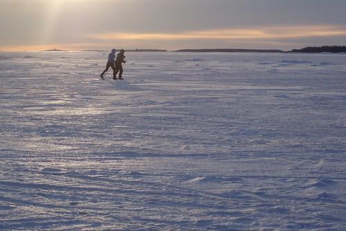 Skiing on sea in Helsinki