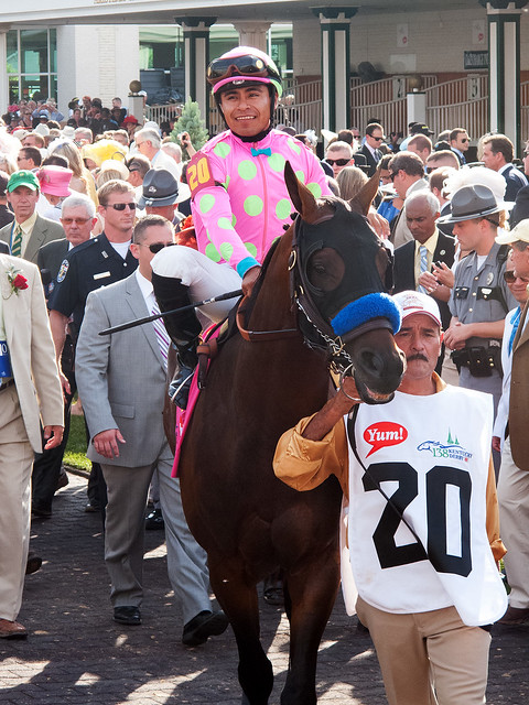 Liaison and his team heading out to the track.