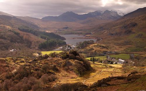 Capel Curig, Llynau Mymbyr and the Snowdon range from Clogwyn Mawr