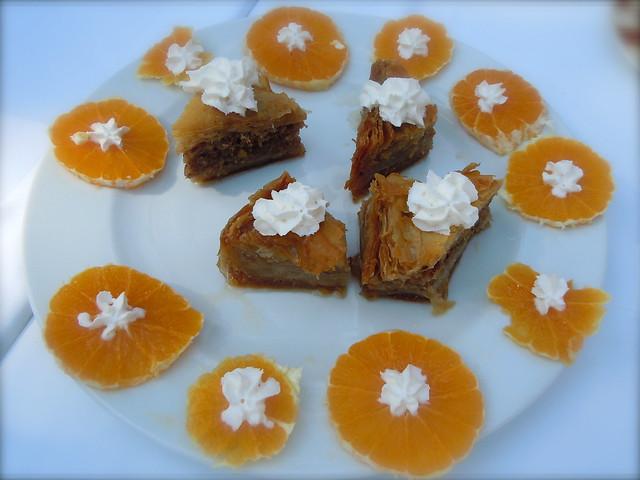 Baklava and fresh oranges
