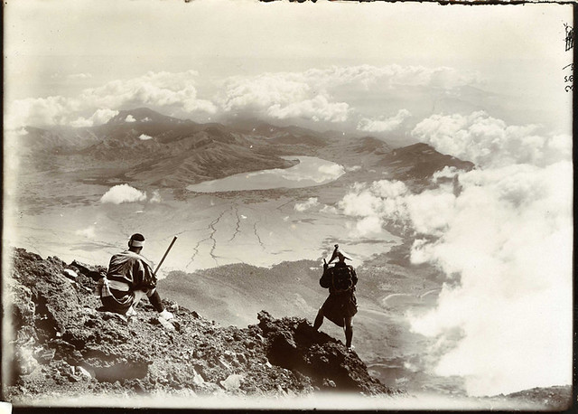 """Lake Yamanaka from the summit of Mount Fuji Japan"". Photograph taken by Herbert Ponting (1870-1935)."