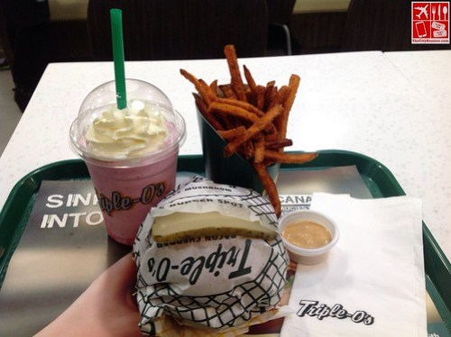 Triple-O's by White Spot - Monty Mushroom Burger Combo with Strawberry Milkshake and Sweet Potato Fries