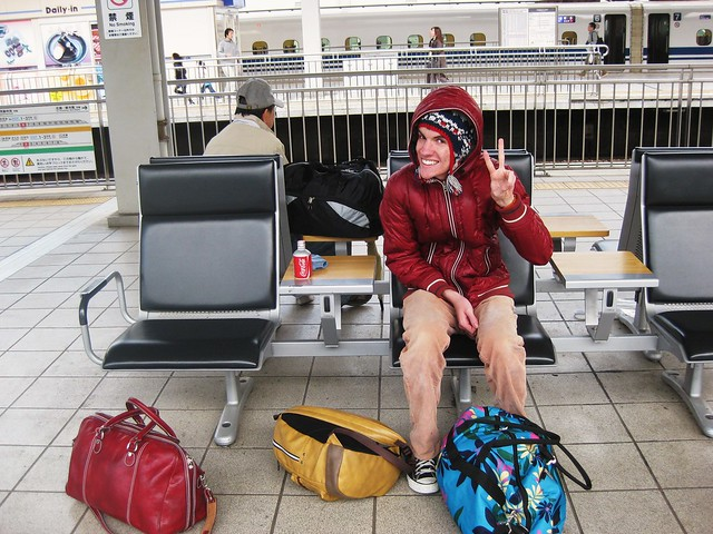 James with our bags at the train station in Fukuoka!