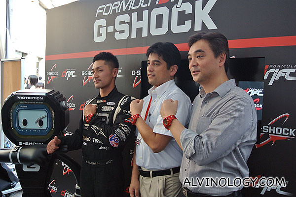Ken Gushi together with two senior management staff from Casio Singapore Pte Ltd