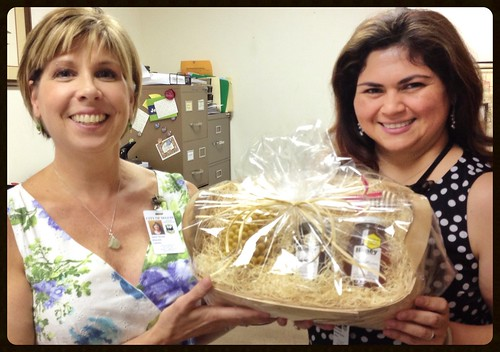 Delivering a GBR basket for the Seguin Library adult summer reading program