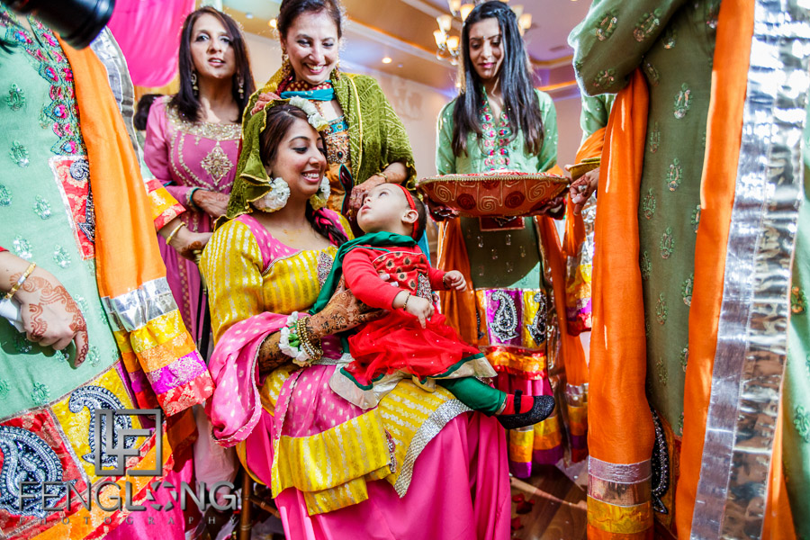 Indian guests and bride during ceremony