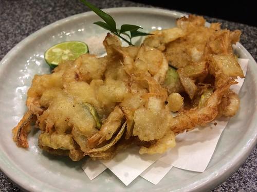 白えびと空豆の天ぷら@魚勝