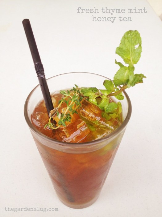 Home-brewed fresh Mint, Thyme & Honey Tea
