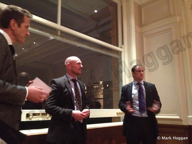 Will Greenwood, Andrew Strauss and Paul Nixon in the Committee Room at Lord's