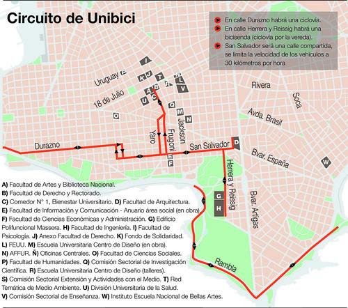 Mapa Montevideo UNIBICI