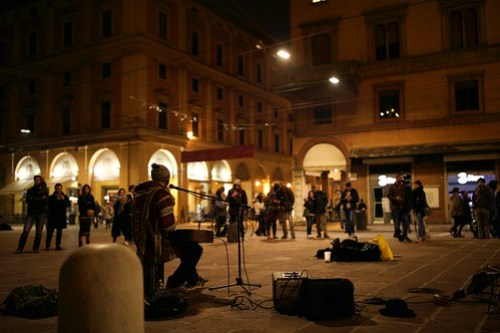 Street Musician in Bologna City Center, Italy