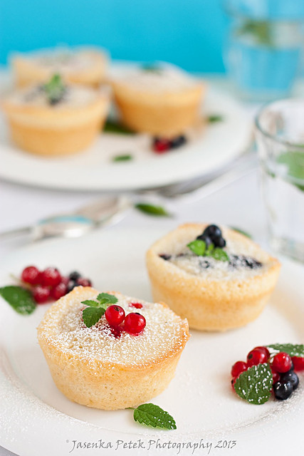 Friands with blueberries and red currants