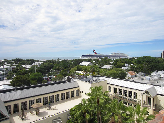Key West from above, with cruise ship in port