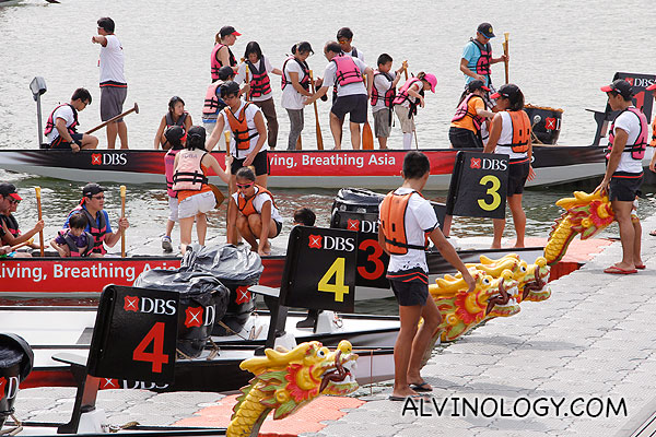Public trying out dragon boating