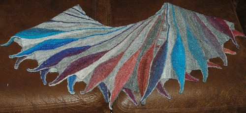 Dreambird shawl in handspun yarn