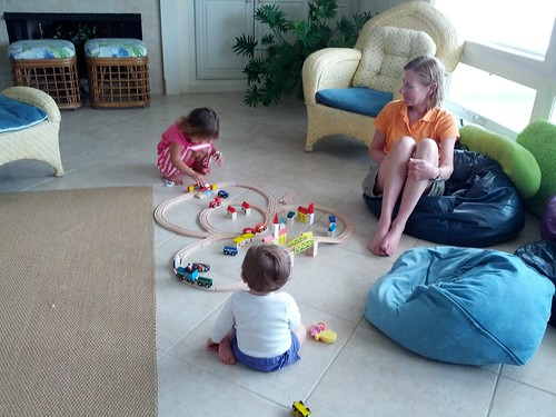 playing trains at the beach house in Vilano Beach