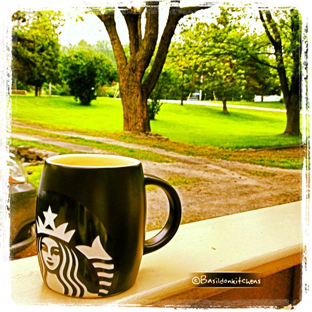 July 1 - happiness is ... {my morning coffee on the deck on Canada Day} #TitleFx #fmsphotoaday #canadaday #coffee #starbucks #princeedwardcounty