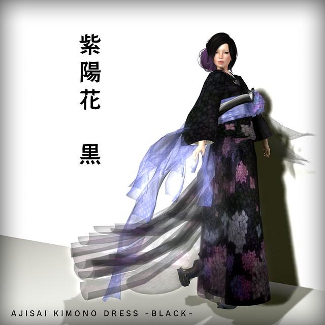 *N*AJISAI KIMONO DRESS BLACK