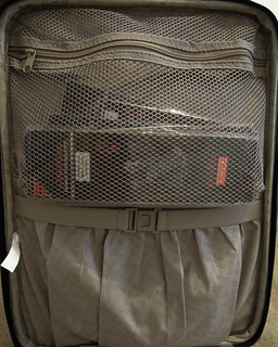 Gray Yarn Suitcase Top Pockets
