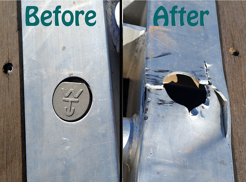 Before and after pictures of the only damage on the grain cart trailer