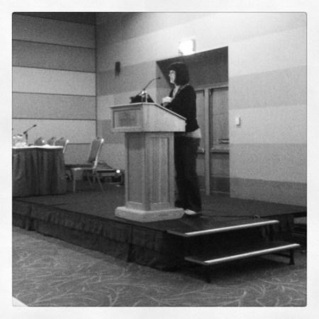 Becky presenting #mootieuk12