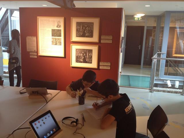 Boys drawing at Vincent van Gogh museum