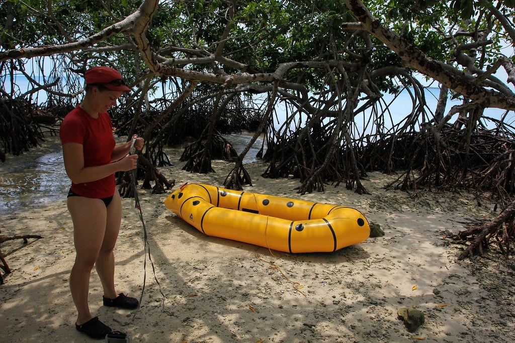 Preparing for some paddling around the mangroves of Tintipán island. Archipiélago de San Bernardo National Park. Carribean Colombia.