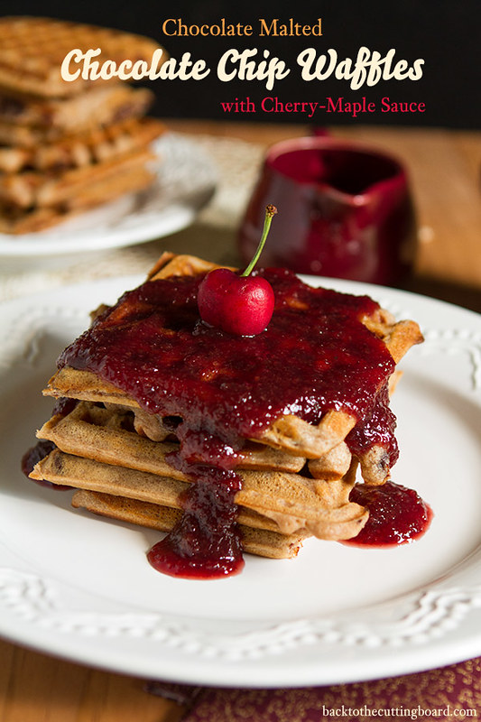 Malted Chocolate Chip Waffles with Maple-Cherry Sauce