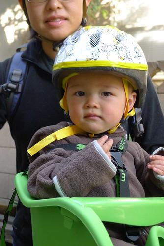 Fin in his chick helmet