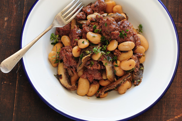 One Pot Dinner Recipe mushies with sausages-4