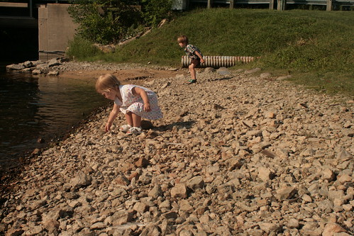 throwing stones in the river