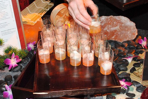 Shibuya fruit pearls and yuzu float, lychee passion pearls, yuzu sorbet, sparkling sake