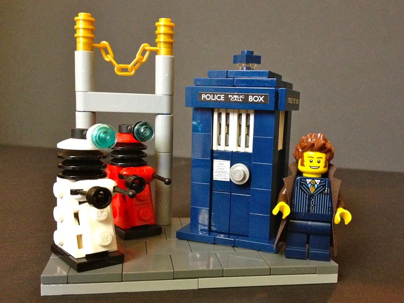 Doctor Who and his (dark blue) TARDIS